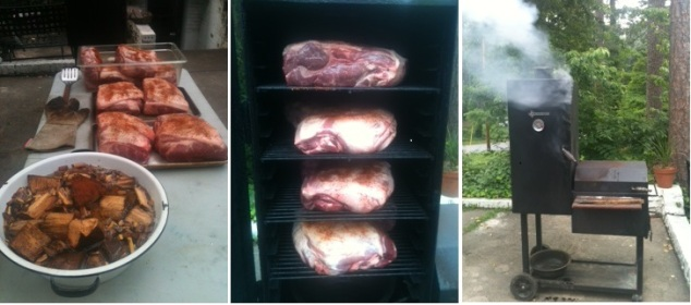 Rubbed shoulders and hickory chips; shoulders on the racks ready to go, now we're smoking!